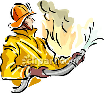 Royalty Free Clip Art Image: A fireman fighting a fire with a firehose.