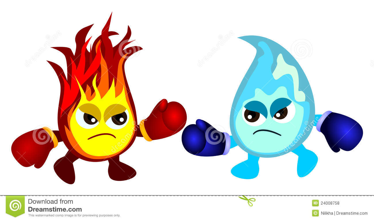 Water Vs Fire Royalty Free Stock Photos.