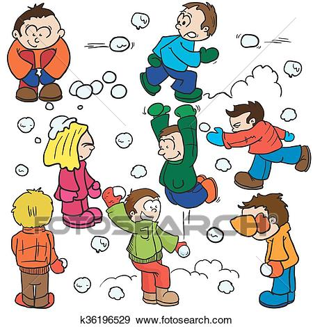 Snowball fight Clip Art.