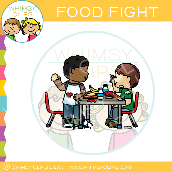 Food Fight Clip Art.
