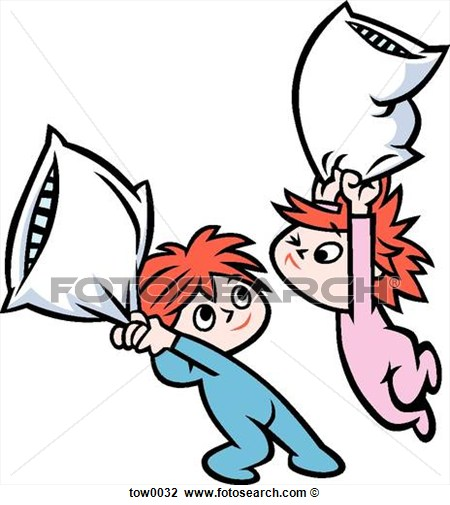 Pillow Fight Clipart.