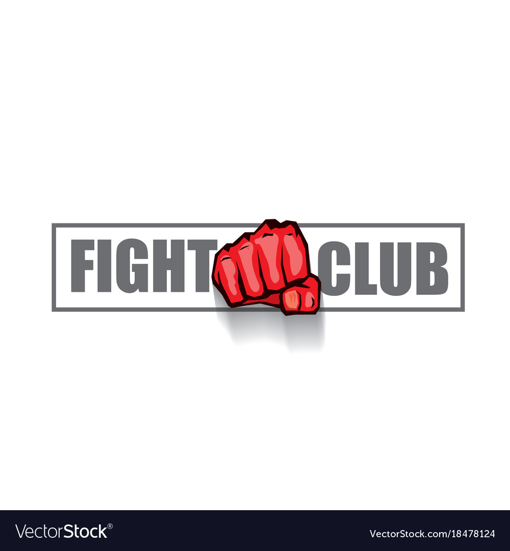 Fight club logo with red man fist isolated.