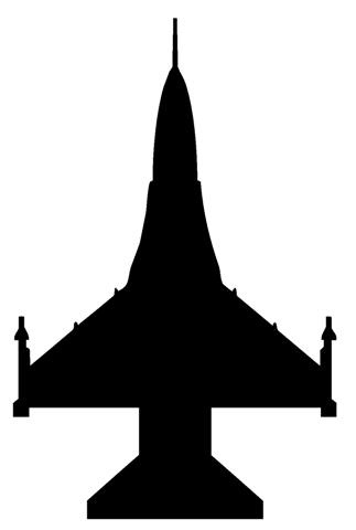 Fighter Jet Silhouette Sideview 1 Decal Sticker Clipart.