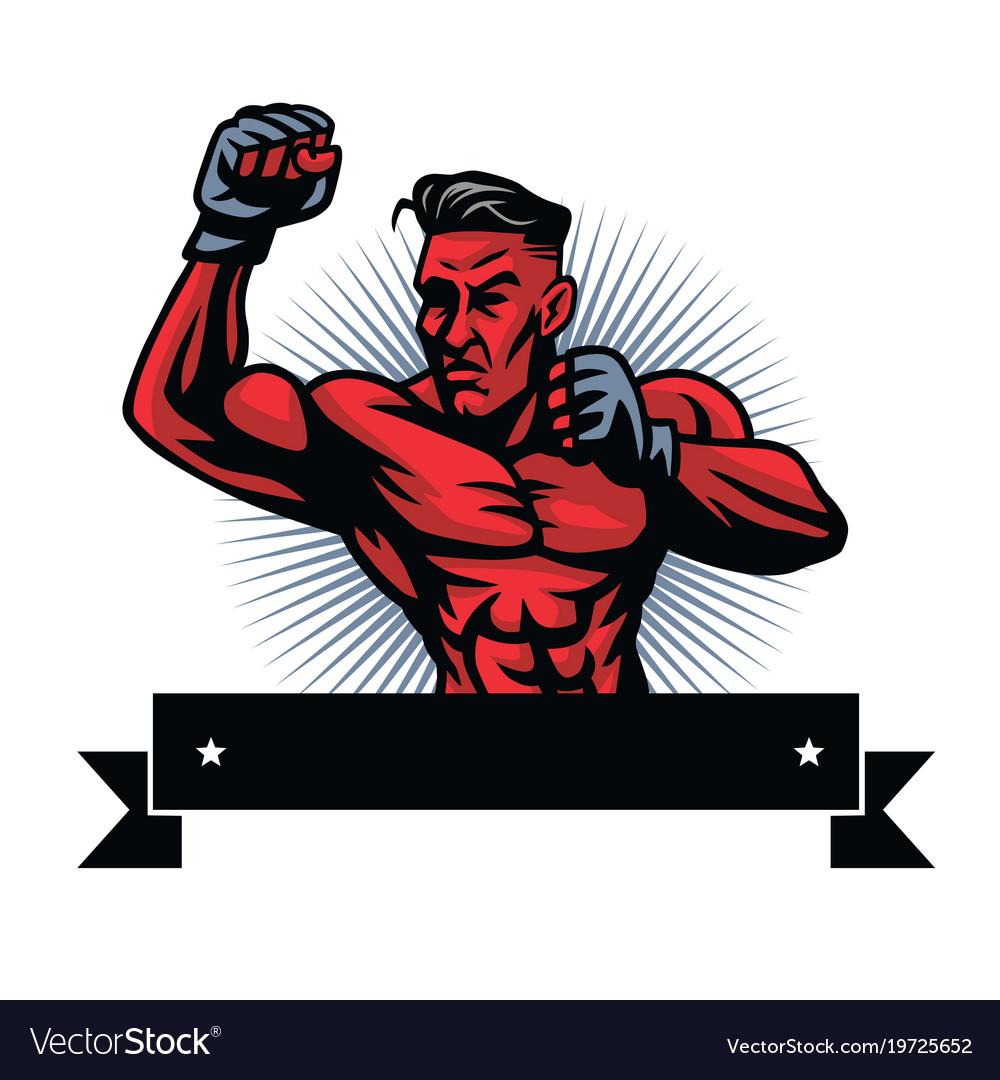 Mma fighter logo design template.