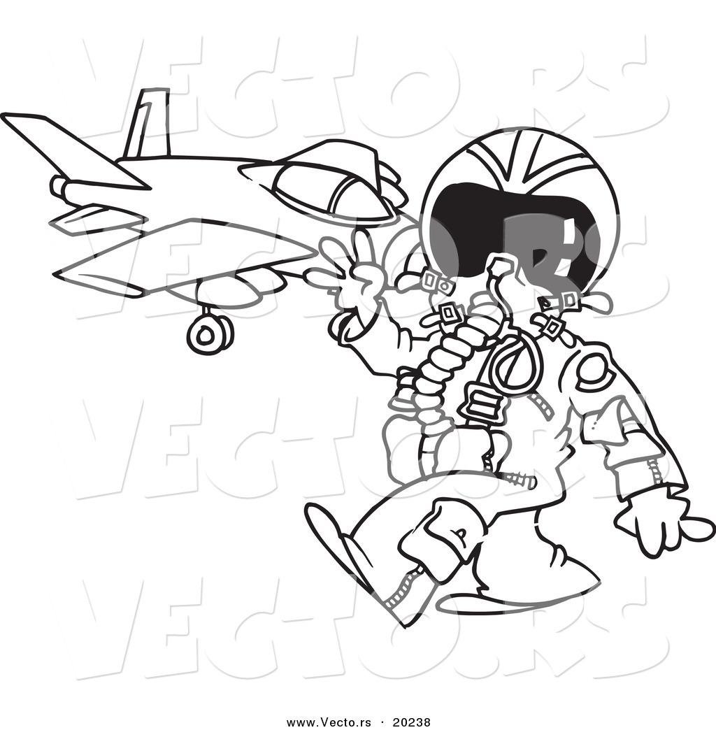 Vector of a Cartoon Fighter Pilot near His Jet.