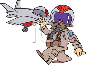 Jet Fighter Pilot In Full Suit Clipart Picture.