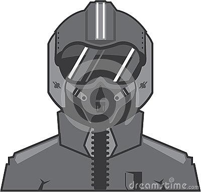 Fighter Pilot Illustration Stock Vector.