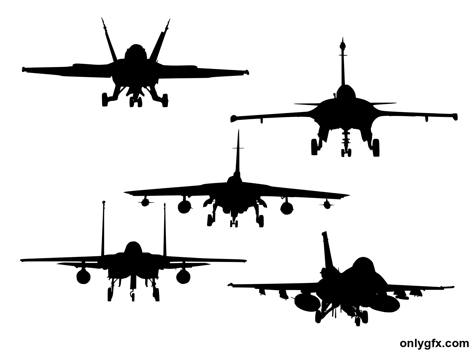 5 Fighter Plane Front View Silhouette (PNG Transparent).