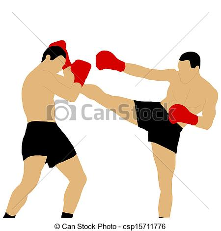 Boxers Fighting Clip Art.