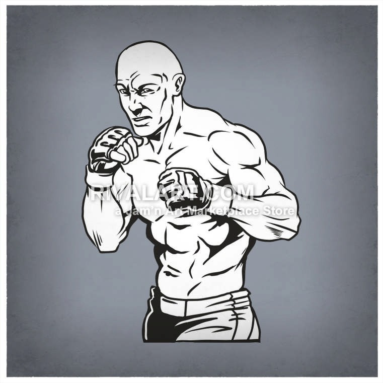 Clipart MMA UFC Cage Fighters Graphic.