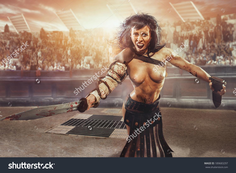 Girl Gladiator Fight Arena Colosseum Stock Photo 189683297.