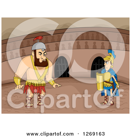 Clipart of Big and Small Roman Gladiators Ready to Fight in an.