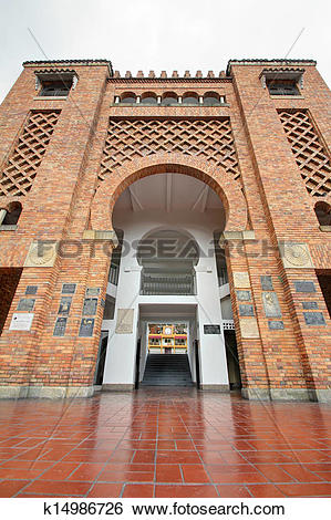 Stock Images of Entrance of bull fighting arena with reflections.