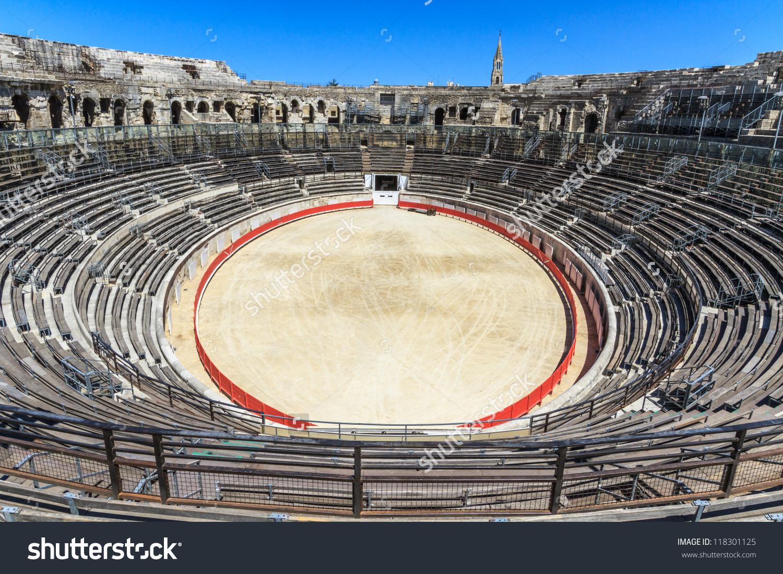 Bull Fighting Arena Nimes Roman Amphitheater Stock Photo 118301125.