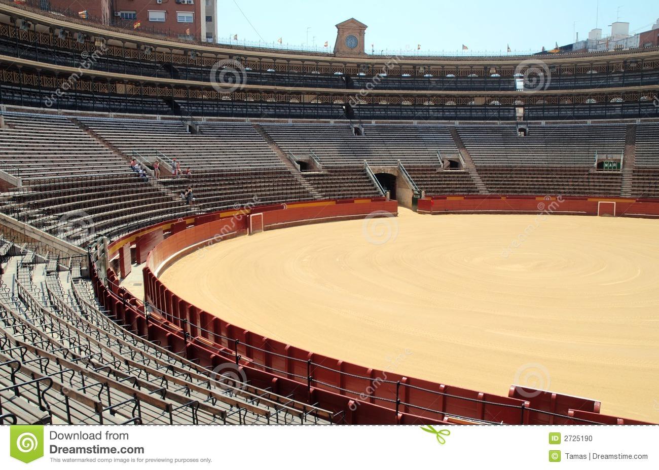 Empty Arena Bull Fighting Stock Photo.