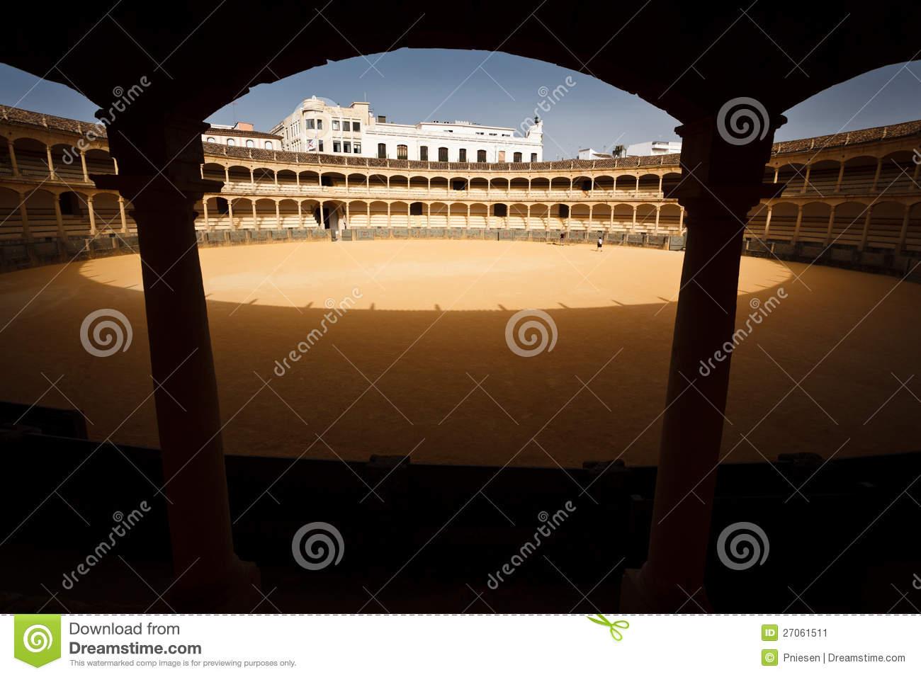 Sunlit Circle Inside Empty Bull Fight Arena Stock Image.