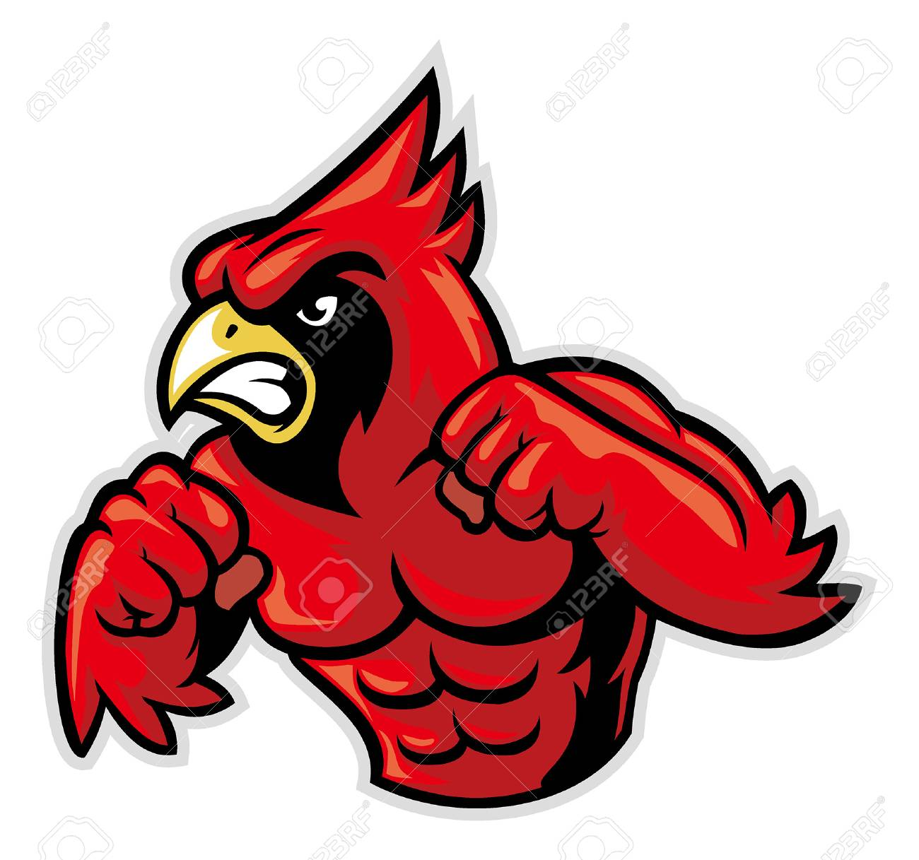 angry cardinal mascot ready to fight.