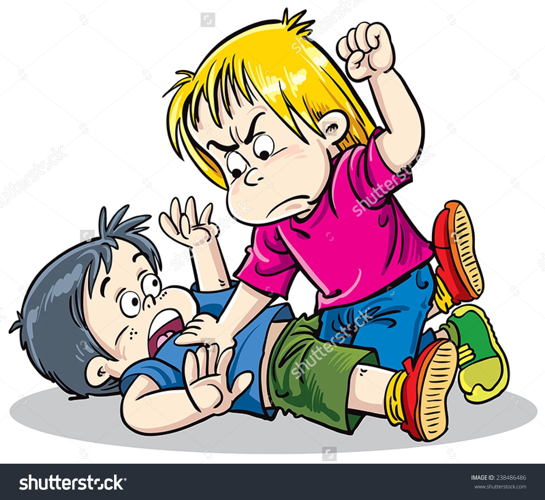 Clip art pictures of children fighting.