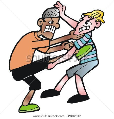 Two boys fighting clipart.