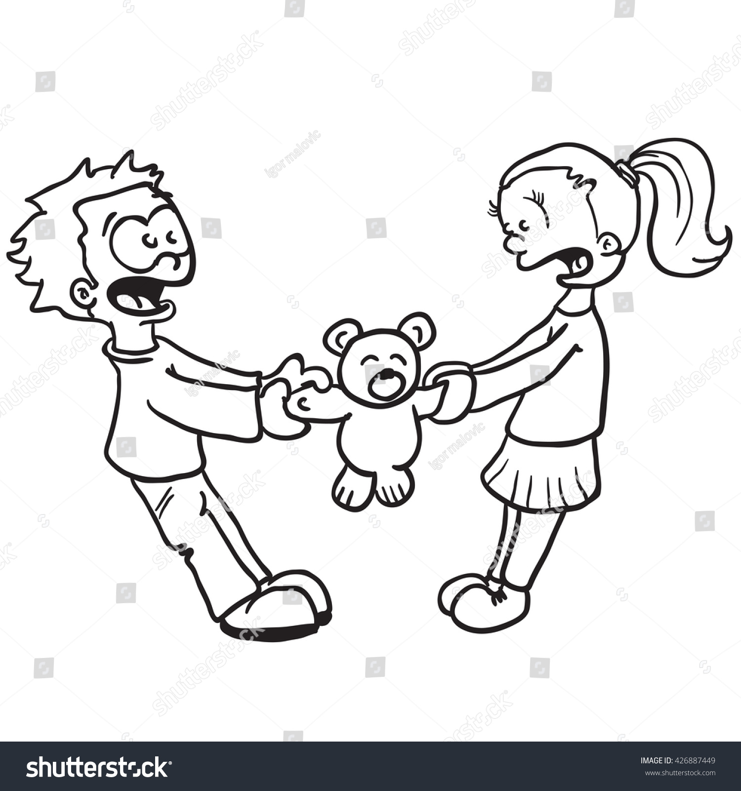 Children fighting clipart black and white 7 » Clipart Station.