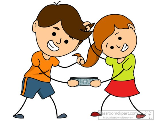 Brother and sister fighting for remote » Clipart Portal.