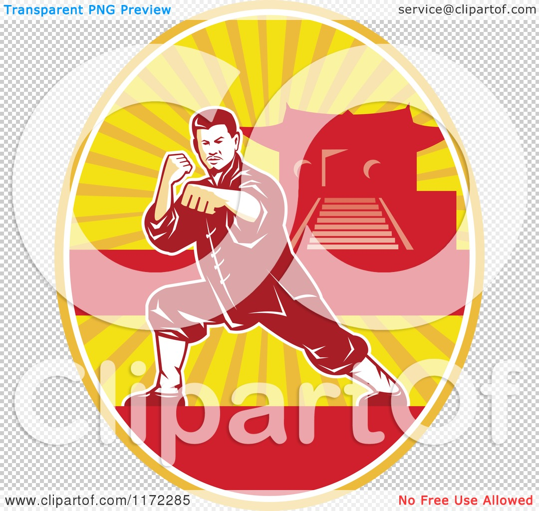 Clipart of a Shaolin Kung Fu Martial Artist in a Fighting Stance.