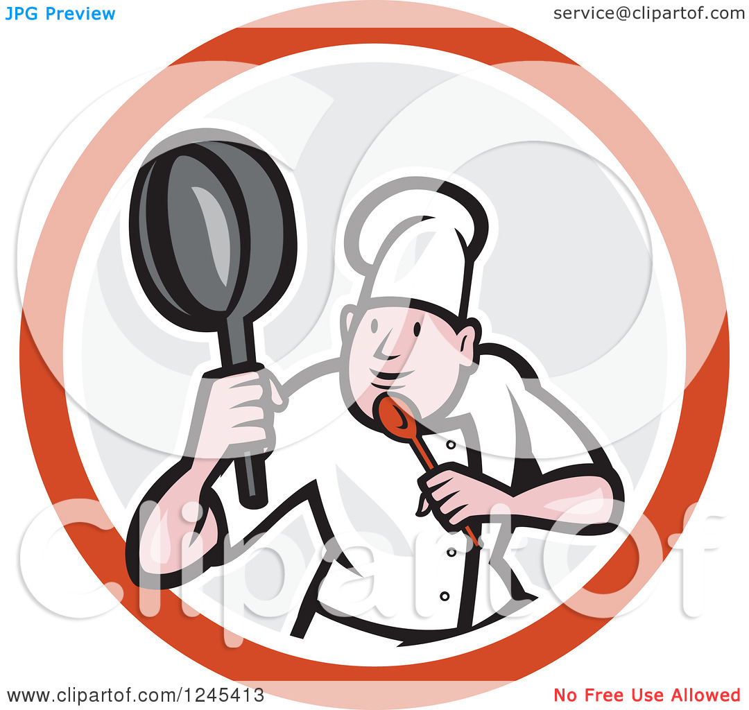 Clipart of a Cartoon Male Chef in a Kung Fu Fighting Stance Inside.