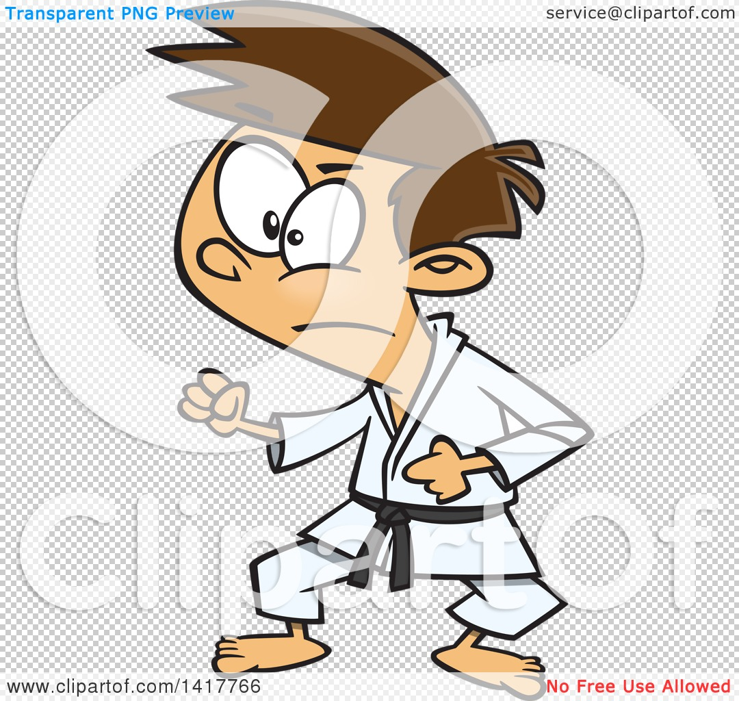 Clipart of a Cartoon Caucasian Karate Boy in a Fighting Stance.