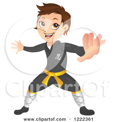 Clipart of a Ninja Boy Without a Mask, in a Fighting Stance.