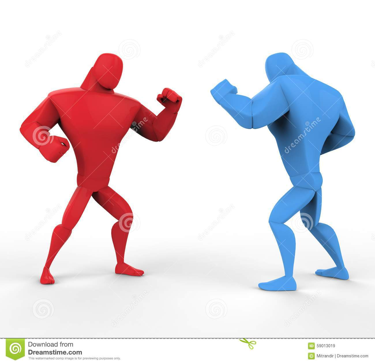 Red And Blue Boxers In A Fighting Stance. Stock Illustration.