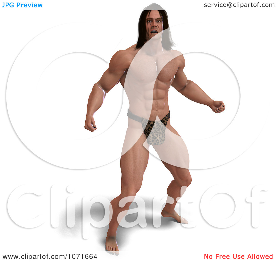 Clipart 3d Strong Tarzan Man In A Fighting Stance 2.