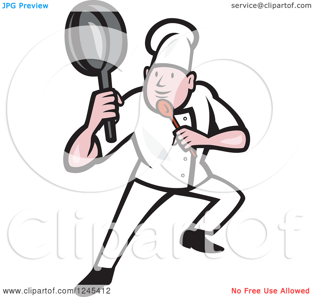 Clipart of a Cartoon Male Chef in a Kung Fu Fighting Stance.
