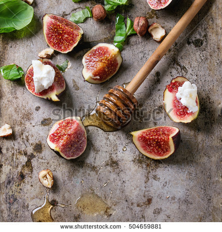 Top View On Sliced Figs Wooden Stock Photo 154141631.