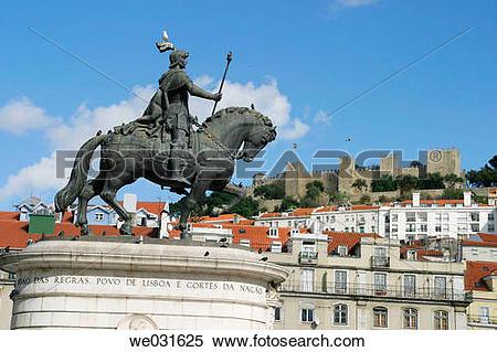 Stock Image of Dom Jo?o I statue in Pra?a da Figueira, Lisbon.