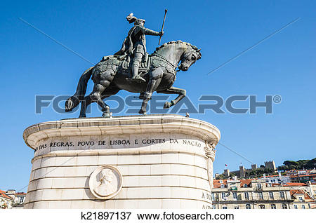 Picture of equestrian statue of Dom Joao I in Figueira Square (or.