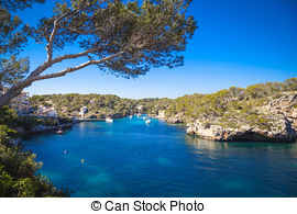 Stock Photo of Boats in the harbour of Cala Figueira, Mallorca.
