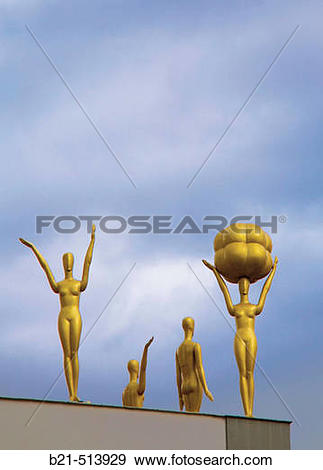 Stock Photograph of Statues on the roof of Dal? Museum, Figueres.