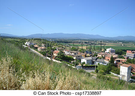 Stock Photographs of Summer landscape near Figueres, Catalonia.