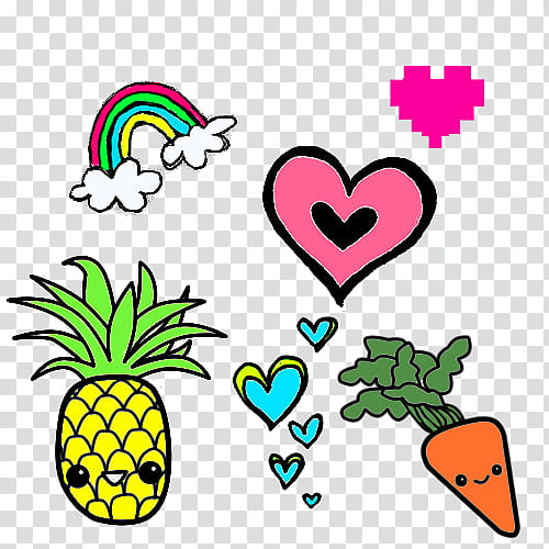 Figuras en, pineapple, heart, carrots, rainbow, and heart.