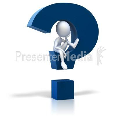 Stick Figure Sitting In Question Mark Presentation clipart.