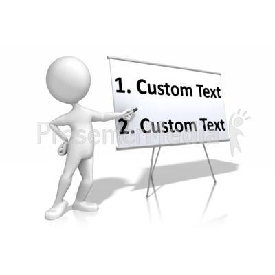Stick Figure Presenting Blank Board Text PowerPoint Clip Art.