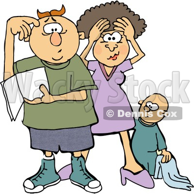 Mom and Dad Trying to Figure Out How to Raise a Baby Boy Clipart.