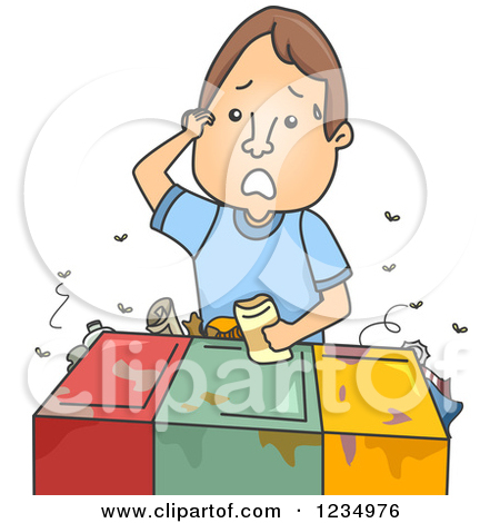 Clipart of a Confused Caucasian Man Trying to Figure out Where a.