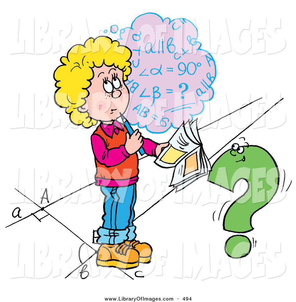 Clip Art of a Confused School Girl Trying to Figure out a Math.