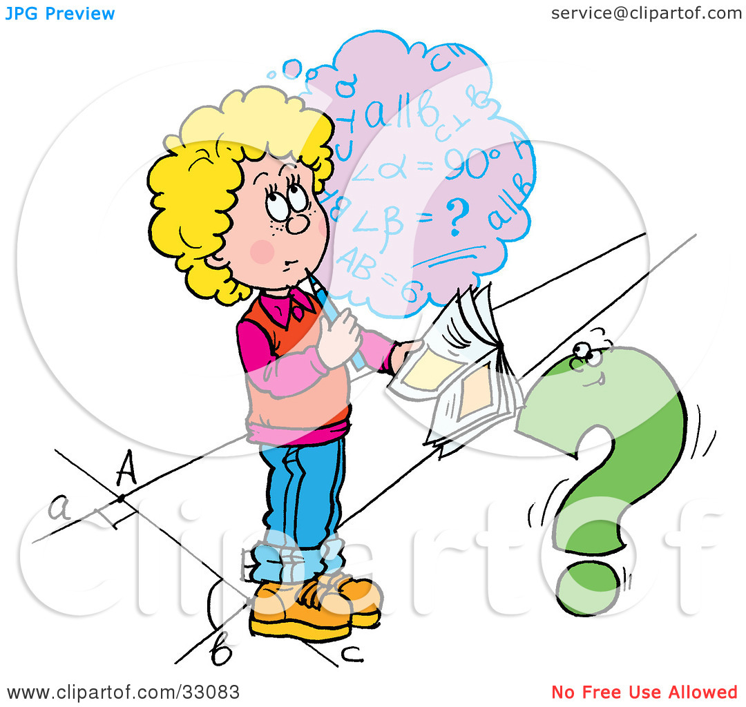 Clipart Illustration of a School Girl Trying To Figure Out A Math.