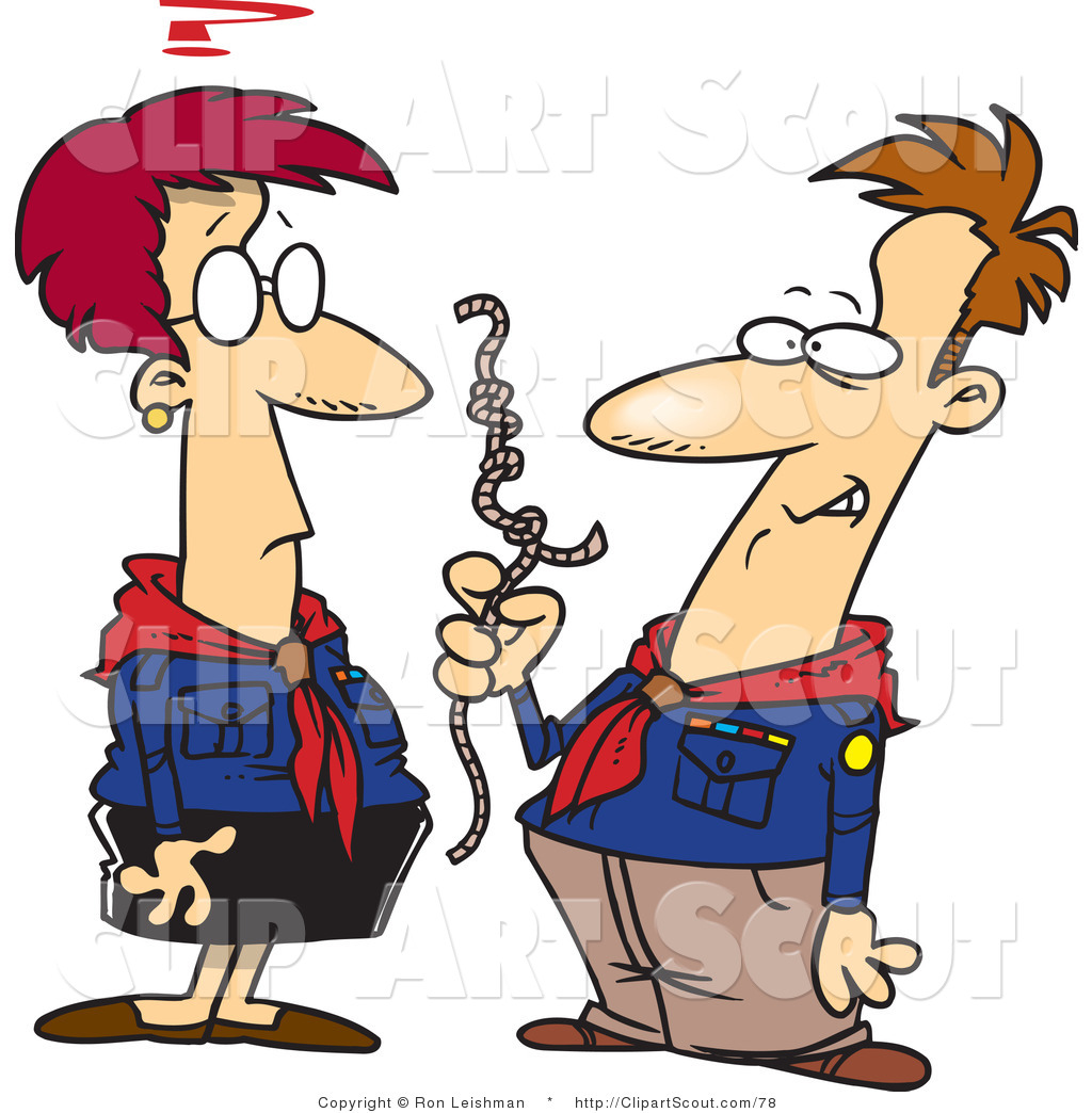 Clipart of Cartoon Scout Leaders Trying to Figure out Rope Knots.
