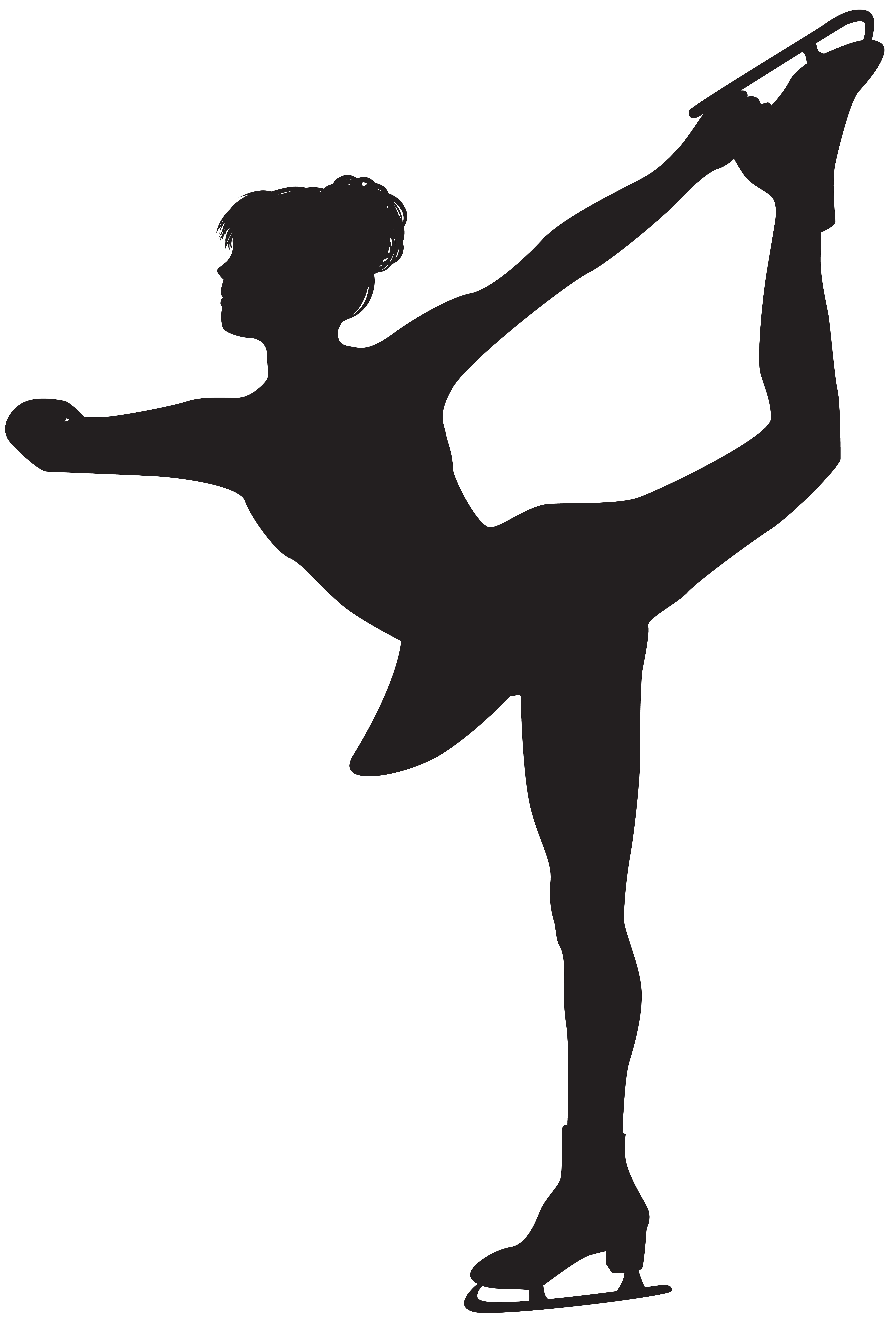 Figure Skating Woman Silhouette PNG Clip Art.