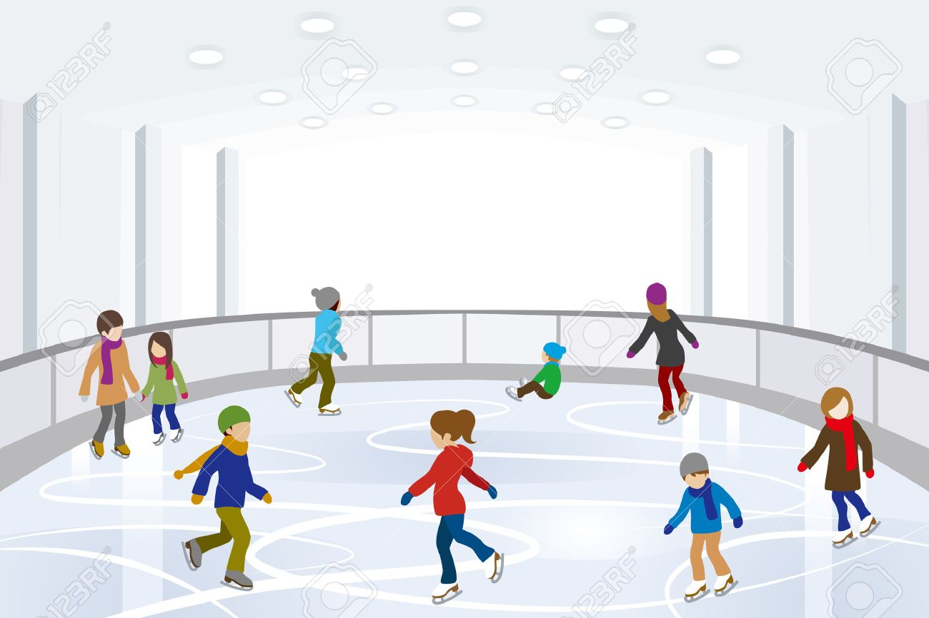 People Ice Skating in indoor Ice Rink.