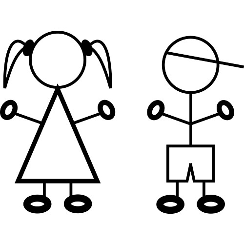 Stick figured students surprised black and white water clipart.