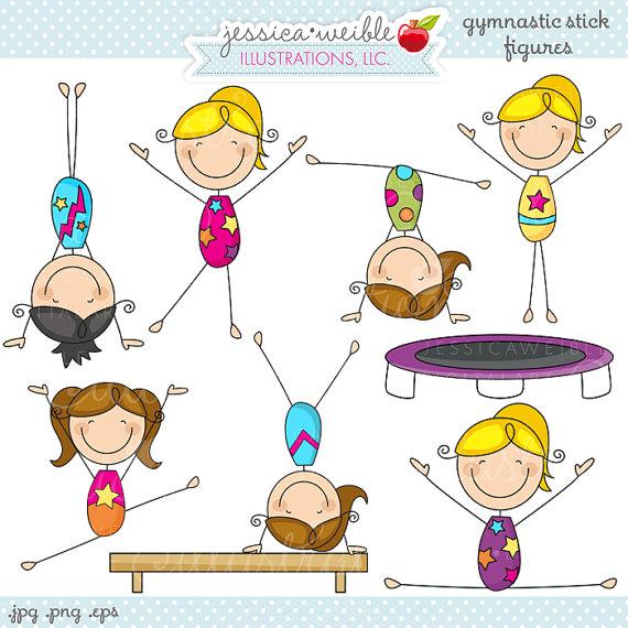 Gymnastics Stick Figures Cute Digital Clipart by JWIllustrations.